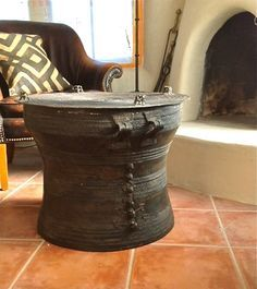 Antique Bronze Reproduction Thai Rain Drum Table  Small | Drums .