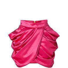 BALMAIN Wool-Silk Draped Side Skirt in Fuchsia (4,620 PEN) ❤ liked on Polyvore featuring skirts, mini skirts, balmain, bottoms, pink, pink wool skirt, pink silk skirt, wrap skirt, woolen skirts and draped wrap skirt