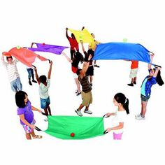 Sportime 2-Person Parachute Set, 33 inch x 50 inch, Nylon, Assorted Colors, Set of 6