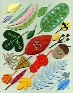 Ilustraciones con papel recortado de Jared Schorr vía Kireei cosas bellas. El resultado no va a ser el mismo, pero es una idea muy buena para hacerla con niños.
