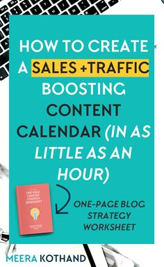 A traffic boosting content calendar in an hour. Really? If you're struggling to come up with a content calendar of ideas that drive your readers to take action, this post will give you 5 key steps to help you flesh out ideas that work for your blog and business