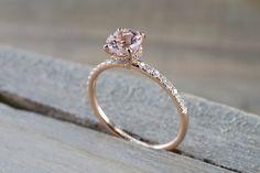 14k Rose Gold Dainty Round Morganite Round Cut Diamonds Under Halo Design Ring Engagement