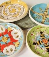 Set of 4 Ceramic Pottery Dishes – Goddess Brigit Brigid Brighid Brighit Bride – Imbolc – Candlemas – Apple Bee Snake Cross – Celtic
