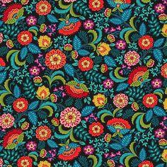 Preciosa tela de patchwork con flores en tonos oscuros de Studio E fabrics. Tela en tonos verdes, negro y rojos con flores multicolor. Ideal para combinar