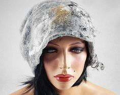Felted Hat Art Hat wild Retro hats Felt wearable art Nunofelt Nuno felt la belle epoque Eco art deco Fiber Art    Much more beautiful than the picture! A hat from our workshop.  A feminine and gorgeous piece of art - it will emphasize your individuality!