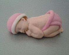 Fondant edible baby girl cake topper by evynisscaketopper on Etsy Mini Teddy Bears, Teddy Bear Cakes, Christening Blanket, Girl Christening, Baby Cake Topper, Cake Toppers, Fondant Baby Shoes, Cupcake Photos, Baby Girl Cakes