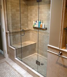 Grab bar...not for the shampoos, though! Like the different size tiles on top and bottom