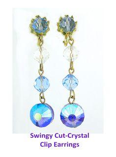 1960s Cut Crystal Bead Earrings - Fancy Amethyst AB & Blue Bicones
