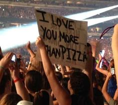 (But PIZZA though?) Crazy fan posters at 1D concerts
