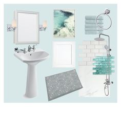 Fresh and Classic by jslampe on Polyvore featuring interior, interiors, interior design, home, home decor, interior decorating, Minka-Lavery, Christy, American Standard and bathroom