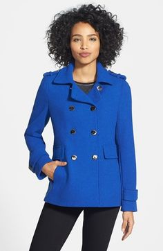 Calvin Klein Wool Blend Knit Peacoat available at #Nordstrom