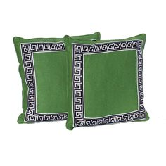 """This pair of decorative 20"""" x 20"""" pillows are handmade in designer fabric in a beautiful shade of kelly green with a navy and white geometric border."""