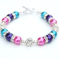 Hot Pink, Purple and Turquoise Pearl Rhinestone Bracelet, Bridesmaid Jewelry, Bridesmaid Gifts, Summer Jewelry