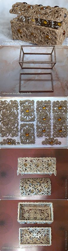 I can envision making this in miniature using filigree squares Twine Crafts, Diy And Crafts, Arts And Crafts, Paper Crafts, Sisal, Rope Art, 3d Quilling, Paper Weaving, Art N Craft