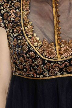 Featuring an ivory and navy shaded anarkali in net with fully zardozi embroidered velvet bodice. It comes along with magenta lycra net churidaar and matching crepe dupatta with gold trims. Slight variety in shading is conceivable. Embroidery On Kurtis, Kurti Embroidery Design, Couture Embroidery, Embroidery Suits, Hand Embroidery, Pakistani Fashion Party Wear, Indian Fashion, Embroidered Clothes, Embroidered Blouse