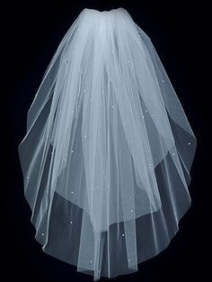 Wedding Bridal Veil  IVORY 2 Tier Fingertip length Swarovski Rhinestones Plain Cut Edge