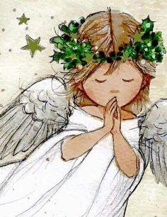 Anjo do Natal Christmas Angels, Christmas Art, Watercolor Cards, Watercolor Paintings, Angel Paintings, Angel Drawing, Illustration Noel, Angel Pictures, Christmas Paintings