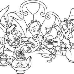alice in wonderland tea party coloring page