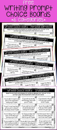 6 free writing prompt choice boards!