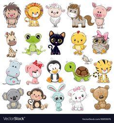 Set of Cute Animals stock vector. Illustration of pets - 172867136 : Set of Cute Animals vector illustration