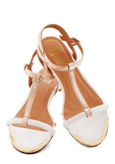 Rose Gold Medal Sandal - Flat, White, Gold, Luxe, Statement, Summer, Daytime Party, Beach/Resort
