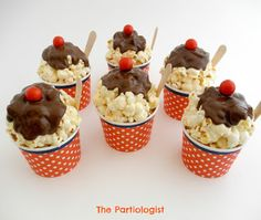 The Partiologist: Popcorn Sundae Cups! Great for a cake stand