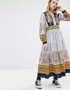 Image 4 ofReclaimed Vintage Maxi Dress With Peacock Embroidered Detailing With Multi Prints