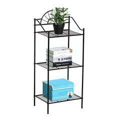 World Pride 3 Shelves Black Iron Kitchen Bakers Rack for Microwave Oven Indoor Metal Plant Stands ** You can find more details at