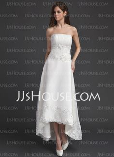 A-Line/Princess Strapless Asymmetrical Satin Tulle Wedding Dress With Ruffle Lace Beadwork Sequins (002011491)