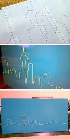 String Art - Seattle Skyline, i would just do. not Seattle. Home Crafts, Arts And Crafts, Diy Crafts, Diy Wall Art, Diy Art, Wall Decor, Do It Yourself Quotes, Art Projects, Projects To Try