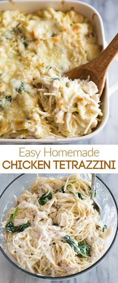 An easy Chicken Tetrazzini recipe made from scratch with real ingredients. Also, tips for making healthy chicken or turkey tetrazzini. chickentetrazzini turkeytetrazzini healthy recipe easy tastesbetterfromscratch pasta via 89720217563724728 Healthy Pastas, Easy Healthy Recipes, Easy Meals, Healthy Pasta Dishes, Healthy Chicken Pasta, Chicken Tetrazzini Recipes, Easy Turkey Tetrazzini, Turkey Tetrazini, Pasta Facil