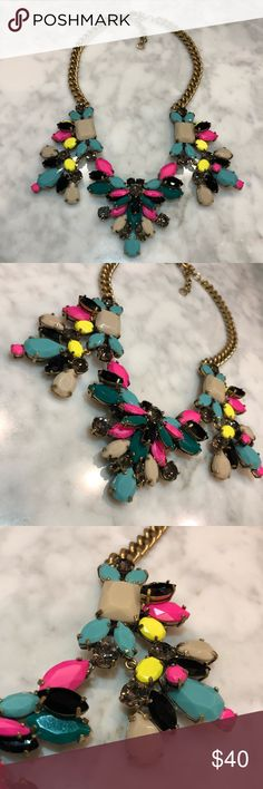 J. Crew multicolored statement necklace Beautiful J. Crew multicolored statement necklace w/ pops of neon yellow and hot pink detailing J. Crew Jewelry Necklaces
