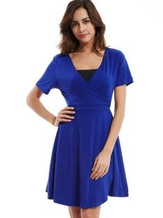 8b7333c4f43 Pretty Plain V-Neck A-Line Women s Day Dress Knee Sleeves