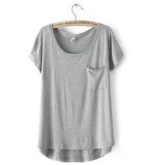 Short-Sleeve Dip-Back T-Shirt ($19) ❤ liked on Polyvore featuring tops, t-shirts, shirts, tees, grey tee, gray tank top, grey tank top, grey t shirt and gray t shirt