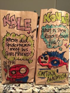 "This mom who puts amazing drawings/jokes on her sons' lunch bags every day. 15 Parents Who Will Make You Go, ""Ha, Ha, Ha.Wait, I'm Crying"" America Jokes, Jokes For Kids, Amazing Drawings, Brighten Your Day, Drinking Tea, Make Me Happy, The Funny, Crying, Spiderman"
