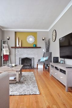 Shades of Grey: Find the Perfect Grey Paint for Any Room in Your Home – Stone fireplace living room Best Gray Paint Color, Grey Wall Color, Color Pop, Living Room Remodel, Apartment Living, Living Room Decor, Apartment Therapy, Apartment Design, Living Area