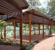 The wooden pergola is a good solution to add beauty to your garden. If you are not ready to spend thousands of dollars for building a cozy pergola then you may devise new strategies of trying out something different so that you can re Carport Designs, Pergola Designs, Backyard Gazebo, Backyard Landscaping, Backyard Ideas, Outdoor Rooms, Outdoor Living, Wooden Pool, Moderne Pools