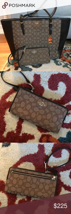 😍❤️BEAUTIFUL Coach Tote and Wristlet Set Amazing hardly used Coach Tote and Wristlet Set! Dark brown signature Coach pattern. Open storage in the bag and tons of storage in Wristlet! See all photos! Would prefer to sell as a set but if you are interested in either let me know! Absolutely no rips stains or tears in either product. Pet free smoke free home! Message me! :) Coach Bags Totes
