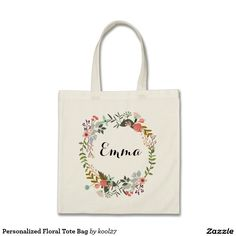 Shop Personalized Watercolor Floral Wreath Wedding Tote Bag created by GiftShopOnline. Gifts For Teens, Gifts For Her, Floral Wreath Watercolor, Floral Tote Bags, Design Your Own, Cute Gifts, Customized Gifts, Reusable Tote Bags, Easter Bunny
