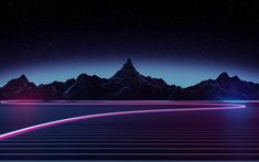 Download wallpapers neon light, 4k, nightscapes, mountains