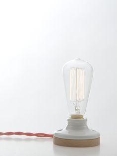 Oak & Porcelain Lamp by Reykjavik Trading Co.