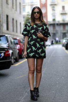 Dinosaur print street style snap from Milan Fashion Week via Fashionista