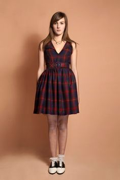 English fannel plaid dress.