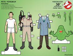 Venkman en muñequito de papel recortable. #Ghostbusters