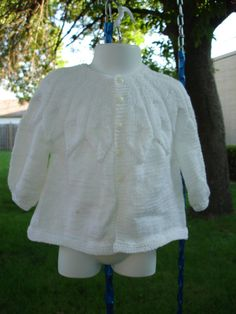 Baby Sweater  In White Cardigan   Heirloom quality