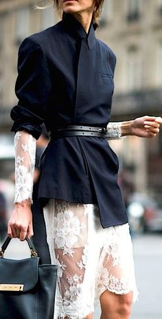 Try belting a jacket with the sleeves rolled up over a dress or long sleeve t-shirt and pencil skirt.