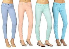 i love subtle colored jeans. they are easier to rock than bright ones. Boho Outfits, Pastel Pants, Models, Spring Trends, Colored Jeans, Parisian, Preppy, Fashion Beauty, Love