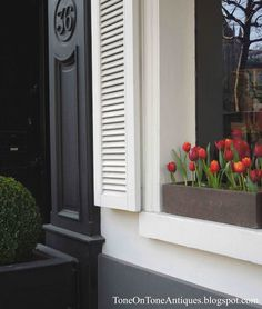 Details...House Number Carved Column, Pop of Color fromTulip Windowbox via ToneOnTone