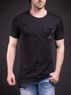 D&H Men Asymmetrical Net Zipper T-shirt - Black - FASH STOP