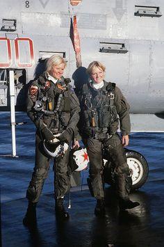 EA-7L_ with Awesome ladies pilots_VAQ-34_Elmendorf_AB_1987